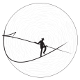 Logo de Keraban Joaillerie représentant un funambule en noir et blanc